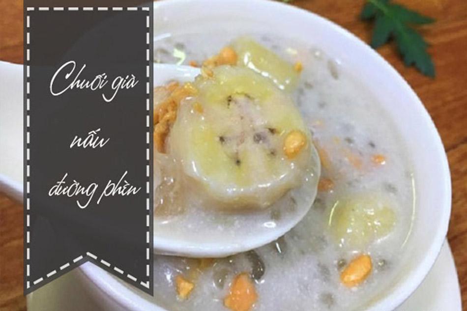 Hình ảnh của món chuối già nấu đường phèn