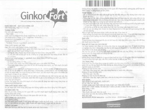 Hướng dẫn sử dụng Ginkor Fort